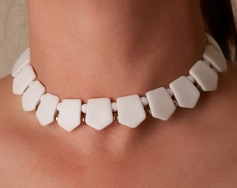 Vintage White Lucite Choker Necklace Mark Japan