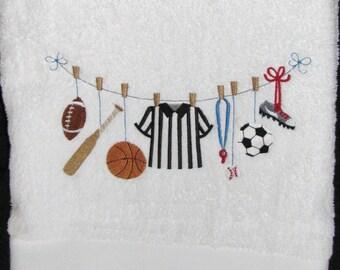 "Embroidered ""Sport Line"" Bathroom Towel"