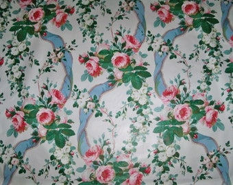 Lee Jofa Kravet Warner SHABBY ROSES RIBBONS Chintz Cotton Fabric 10 Yards White Rose Green Multi