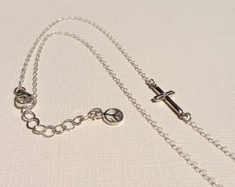 Sideways Cross Necklace in Sterling Silver,Cross Jewelry,Tiny Silver Cross Necklace,Christian Jewelry,Cross Necklace For Women, Gift For Her