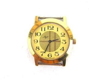 Soviet watch Luch Soviet vintage mens wrist watch Mechanical mens wrist watch Vintage wind up wrist watch Yellow wrist watch