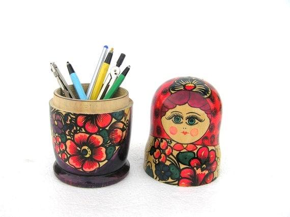Back to school pencil holder Matryoshka vintage Russian wooden doll ...
