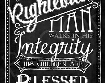 Scripture Art- Proverbs 20:7 Chalkboard