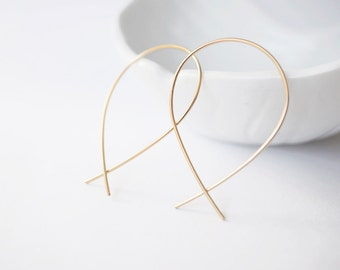 14k Pear Hoop Earrings