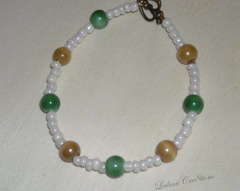 White Beaded Bracelet with Green & Light Brown Glass Beads