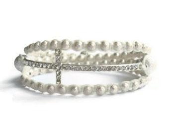 White Cross Wrap Stardust Beaded Bracelet