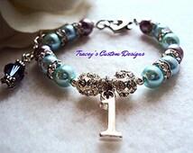 Gorgeous Baby's First Birthday Keepsake Bracelet - Custom made jewelry