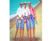 Whimsical Women Beach Seashells Seashore Print 9x12 Glicee from original painting - The Treasure Hunters - Korpita ebsq