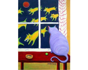 Whimsical Fat Cat Glicee Print from original painting - Why Fluffie Can't Possibly Go Out - scary dogs Korpita ebsq