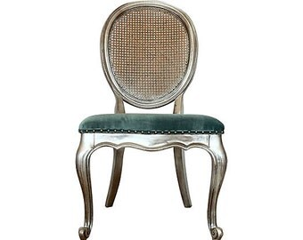 French Louis XVI Silk Velvet Cane Back Chair Upholstered Designer Aqua Distressed Silver Shabby Chic French Country Sitting