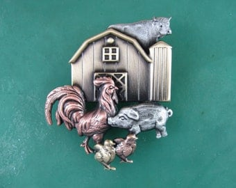 Farmers Daughter Brooch- Barnyard Brooch-Farmers Gift