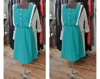 1980s Cotton Day Dress Nautical Bibbed Midi Dress Teal Sundress Button Down Full Skirt Cotton Day Dress