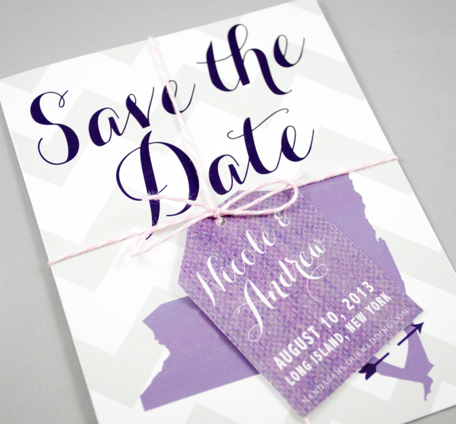 When To Send Out Wedding Invitations For Destination Wedding: Save The Date Chevron Save The Date Invitation Destination