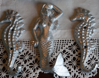 SILVER Cast Iron Mermaid and Seahorses Trio
