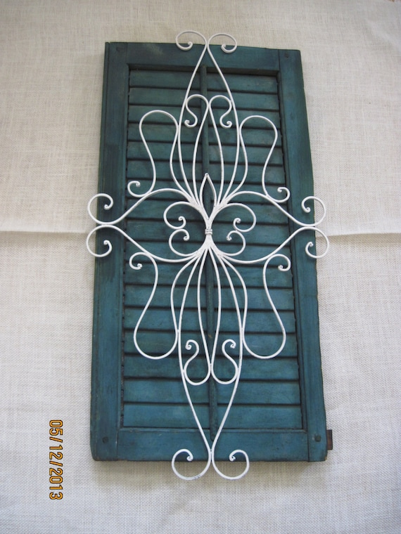 Decorative Metal Shutters For Living Room Interior Houston Tx: Shabby Chic Shutter Green White Wrought Iron Metal Picture