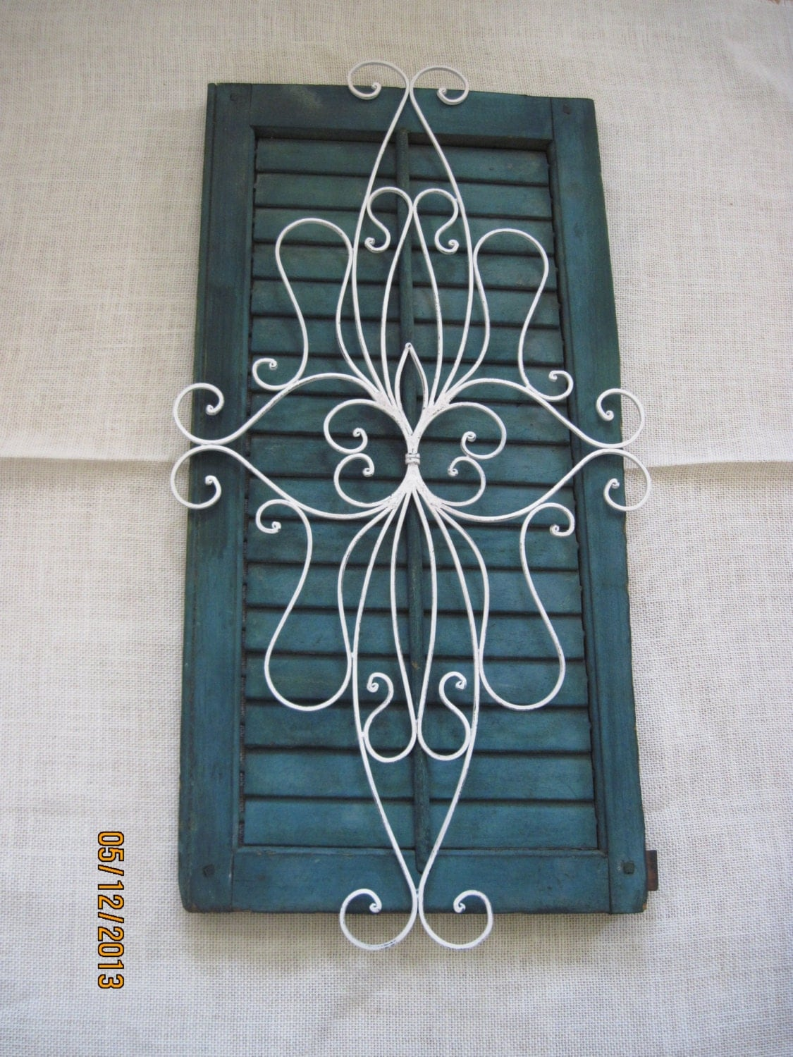 Shabby Chic Shutter Green White Wrought Iron Metal Picture