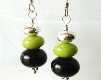 Earrings chrysoprase, sterling silver & tiger kamagong wood button, sterling silver jewellery