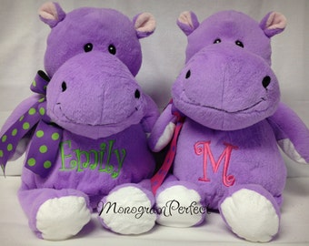 "Personalized Purple 16"" Plush Hippo Soft Toy"