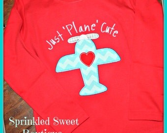 Boy's Airplane Valentines Day Applique Monogram Name Shirt First Valentines Day Any Color Shirt