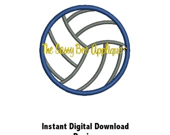 DD Volleyball Applique - Machine Embroidery Design - 2inch, 3inch and 4inch - Instant Download