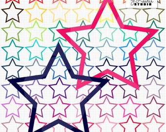 Digital Clipart Star Frames-63 Colorful Stars-Rainbow Bright Colors-Digital Photo Frames-Instant Download Clip Art