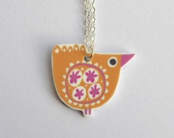 Bird Pendant Necklace in Mustard Yellow and Cerise Pink, Handmade, Mid Century Design