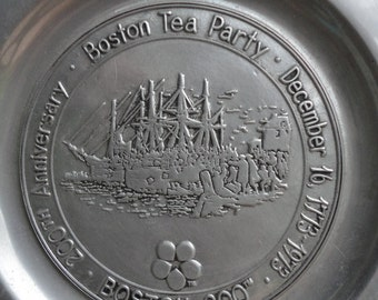 Vintage Collectible Pewter Boston Tea Party 200th Anniversay Dish or wall Hanging Ralph P Wilton
