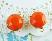 Vintage Opaque Orange Rhinestone 11mm Round Set Stone Drop or Connector 47ss Prong Raw Brass, Antique Silver or Black Settings – 2