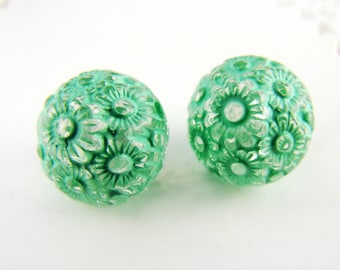 Mint Green Clear Floral Etched Acrylic Beads 12mm - 10