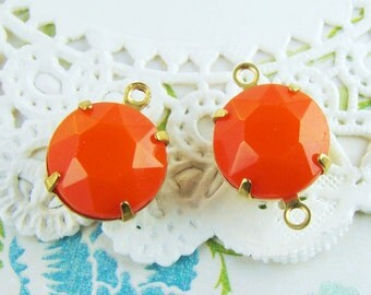 Vintage 11mm Faceted Opaque Orange Glass Stones in Brass Settings Drop or Connector - 4