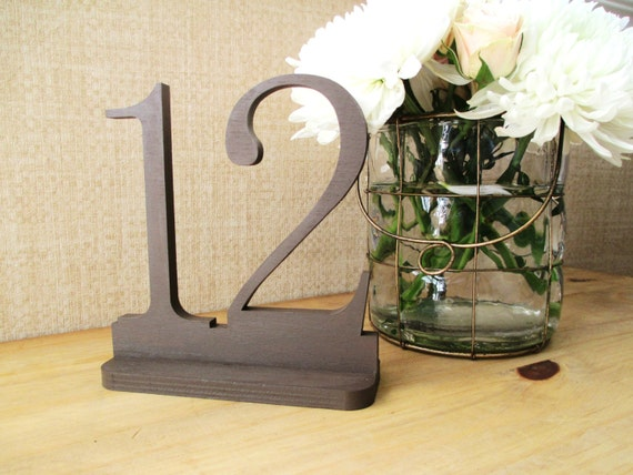 Brown Wedding Table Numbers, Wooden Table Numbers, Wedding Table Number