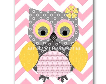 Owl Decor Owl Nursery Baby Girl Nursery Art Nursery Wall Art Baby Nursery Decor Kids Room Decor Kids Art Girl Print Owl Rose Gray Yellow