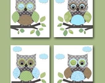 Owl Decor Owls Nursery Baby Boy Nursery Art Nursery Wall Art Baby Nursery Kids Room Decor Kids Art Boy Print set of 4 Owls Blue Green /