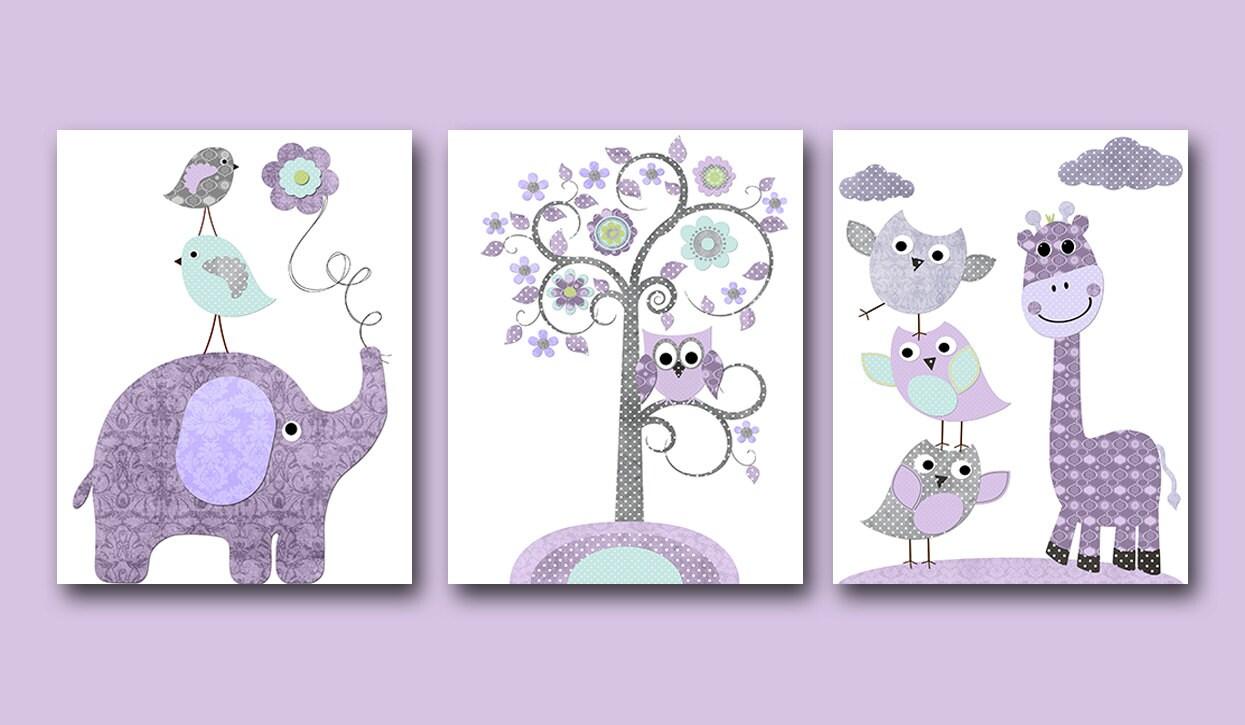 Giraffe elephant baby boy nursery art print children wall art - Fotos de elefantes bebes ...