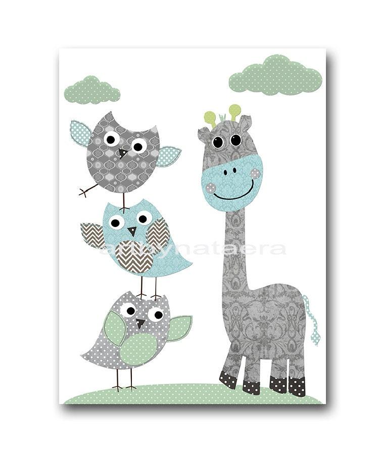 Owl Giraffe Nursery Decor Baby Boy Nursery Art Nursery Wall