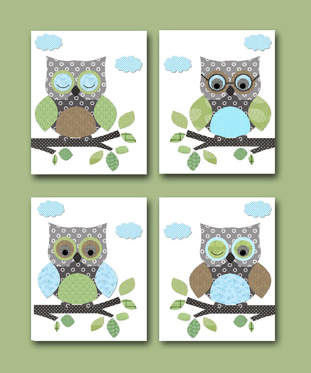 Owl decor owls nursery baby boy nursery art nursery wall art for Baby owl decoration