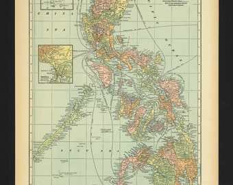 Vintage Map Philippines From 1930 Original