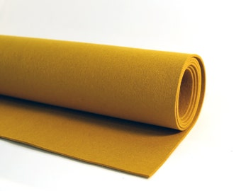 "Thick Wool Felt - 3mm - 18"" X 18"" - 100% Wool Felt - Mustard"