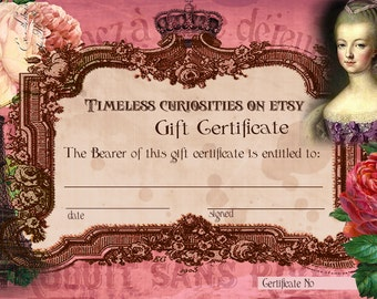 Timeless Curiosities Gift Certificate 50 Dollar Denomination Gift Certificates On Etsy Gift Ideas Vintage Themed Gift Certificate Gift Cards