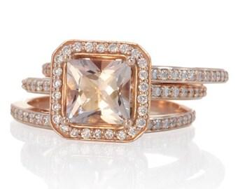 Rose Gold Morganite Ring Double Band Bridal Set 7mm Cushion Cut Morganite Halo Engagement Ring Wedding Band and Anniversary Band