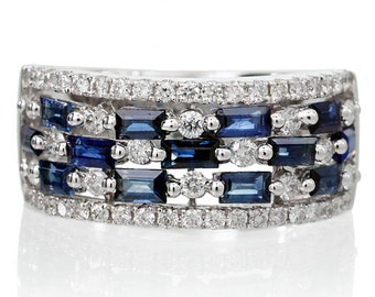 18K White Gold Diamond and Sapphire Anniversary Bridal Something Blue Ring Band