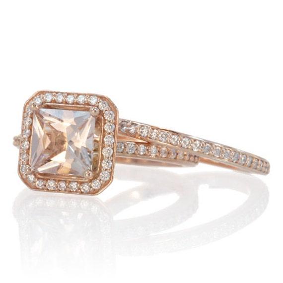 Rose Gold Morganite Ring Bridal Set Cushion Cut Morganite