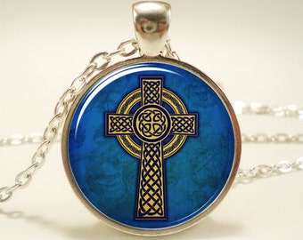 Celtic Cross Necklace, Celtic Knot Jewelry (0928S1IN)