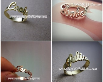 Custom Name Ring - Personalized Name Ring - Baby Name- Your name ring - New Mom Ring - Bridesmaid Jewelry-Birthday gift.#RF07