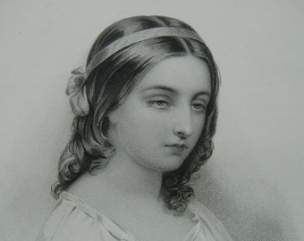 Victorian woman portrait, Steel engraving, Victorian beauty, Young lady J Fisher Victorian woman, Dark haired girl, Victorian girl