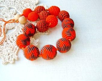 Nursing necklace Orange brown crochet bead  Autumn  - Breastfeeding Babywearing - gift for mother - Tiger Necklace