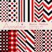 Digital Paper Pack Black Red White Dots Stripes Chevron Checks Medium Basics Scrapbook Paper Instant Download Commercial Use 335