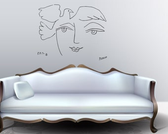 "Wall Art inspired by Picasso's ""Le Visage de la paix"" vinyl wall decal - removable sticker for your livingroom or bedroom decor (ID: 111040)"