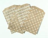 "20 - 5"" x 7.5"" Kraft Bitty Bags in Polka Dot or Chevron Stripe for Treats / Goodies / Gift Bags"