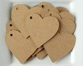 "50 - 2"" Kraft Heart Tags / Wedding Tags / Merchandise Tags / Gift Tags / Hang Tags"